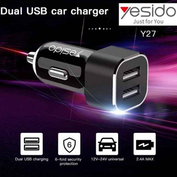 شارژر فندکی یسیدو Y-27 دارای دو پورت USB
