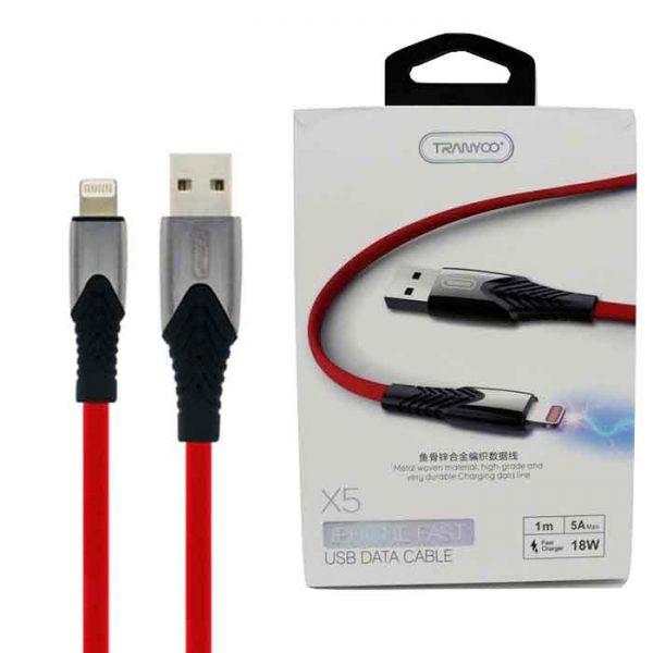 کابل USB به لایتنینگ ترانیو مدل X5 طول 1متر 5آمپر 18وات