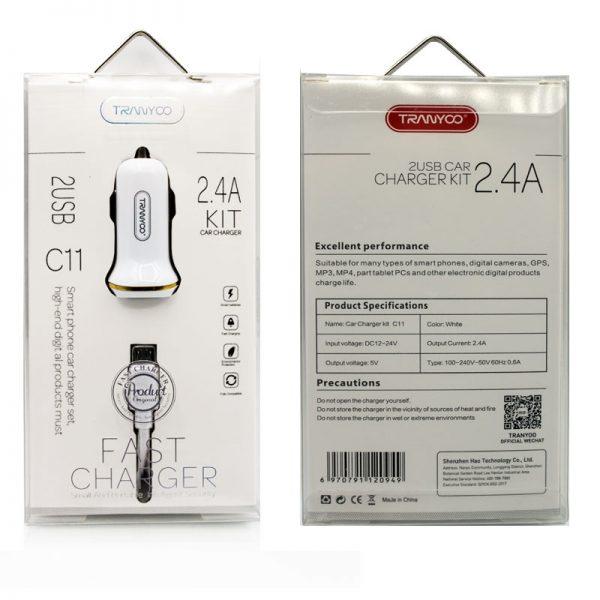 شارژر فندکی فست شارژر ترانیو مدل C11 همراه با کابل MicroUsb