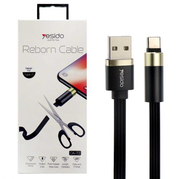 کابل USB به Type-C یسیدو مدل CaT3 طول 1.5متر 2.4آمپر