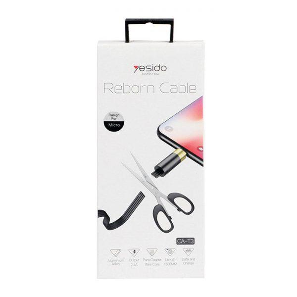 کابل USB به microUSB یسیدو مدل CaT3 طول ۱٫۵ متر ۲٫۴ آمپر