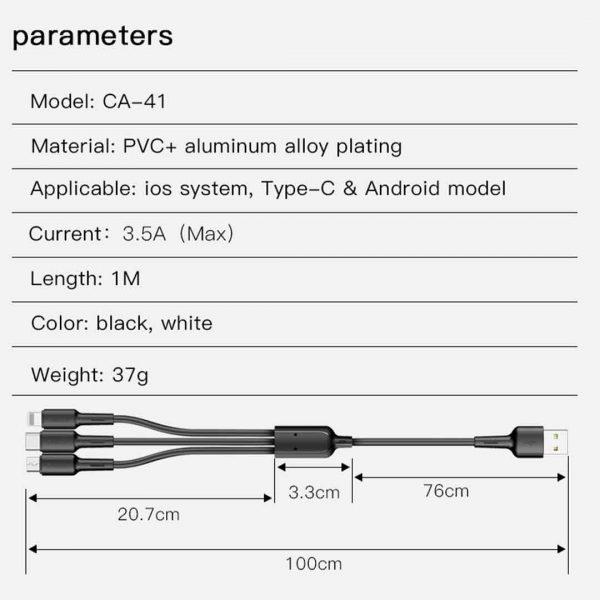کابل ۳کاره لایتنینگ و میکرو و تایپسی یسیدو مدل Ca41 طول ۱متر