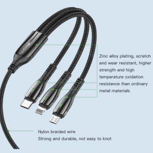 خرید اینترنتی کابل تبدیل USB به لایتنینگ/USB-C/microUSB یسیدو مدل CA44