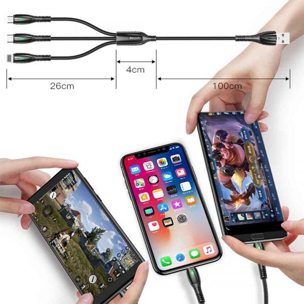 کابل سه کاره Yesido CA44 3 in 1 Braided Data Cable 2.4.