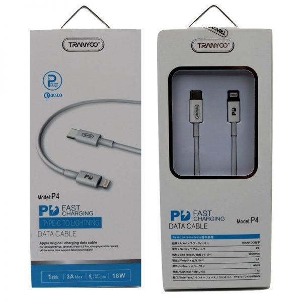 کابل USB به لایتنینگ ترانیو مدل P4 طول 1 متر 3 آمپر