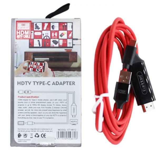 کابل تایپ سی به Hdmi ارلدام Earldom Type-C to HDTV Cable ET-W12 2M