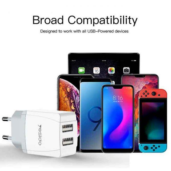 شارژر یسیدو Yesido YC-21 Dual USB Charger 2.4A With Cable