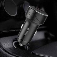 شارژر فندکی فست شارژ یسیدو Y35 دارای دو پورت همراه با قابلیت فست شارژ QC3. مجهز به
