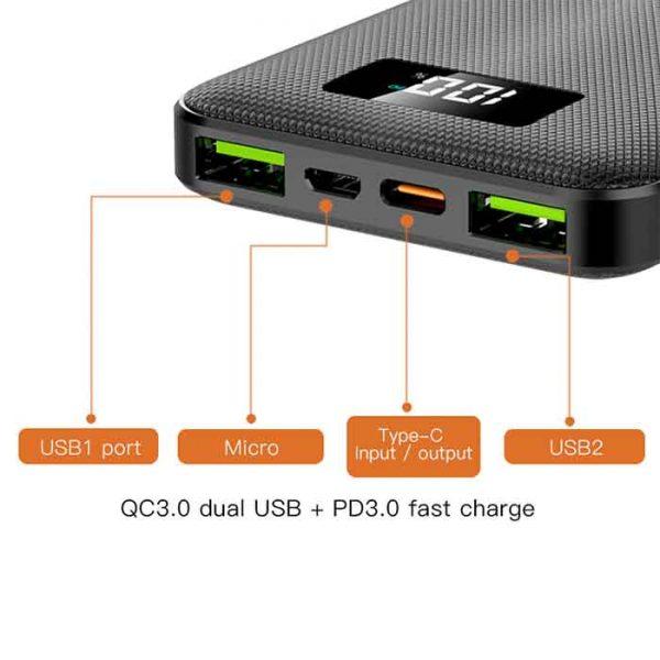 پاوربانک یسیدو مدل YP12 ظرفیت ۱۰۰۰۰ میلی آمپر ساعت