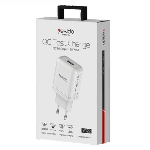 Yesido-Usb-Head-Charger-1port-fast-charger-18W-qc3-1