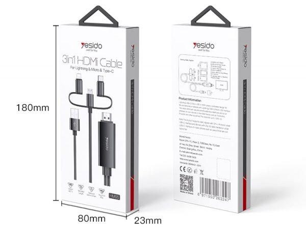 کابل 3سر لایتنینگ،تایپسی،میکرو به Hdmi یسیدو 4k مدل HM05 طول 1.8 متر