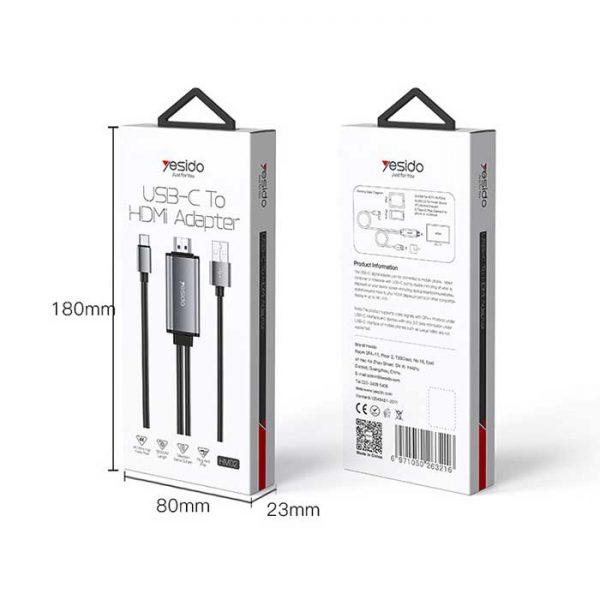 خرید کابل Type-Cبه Hdmi یسیدو 4k مدل HM02 طول 1.8 متر